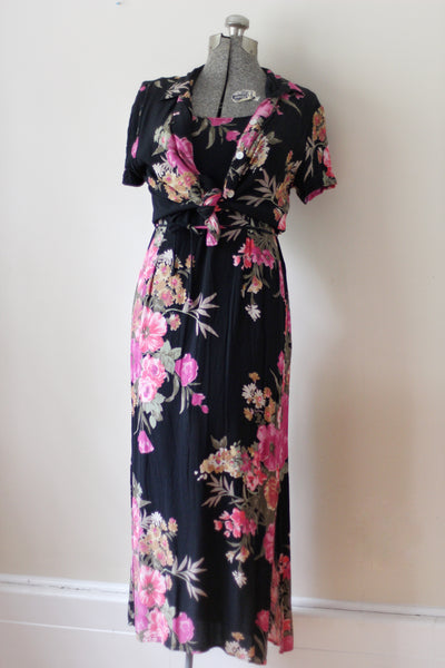 Vintage Floral Black Carol Anderson Dress