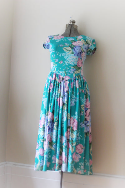 Vintage Teal Floral Carol Anderson Dress