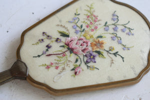 Antique Floral Needlepoint Vanity Set