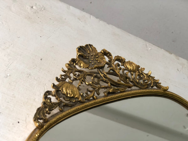 Antique Floral Matson Mirror Tray
