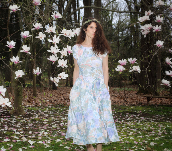 Vintage Light Blue Floral Carol Anderson Dress