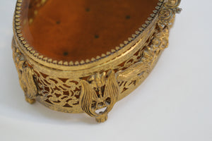 Antique Floral Amber Tinted Lily of the Valley French Victorian Jewelry Box