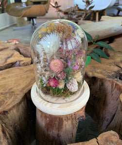 Medium / Small Dried Flowers Glass Dome / Cloche