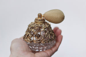 Antique Floral Atomizer Perfume Bottle