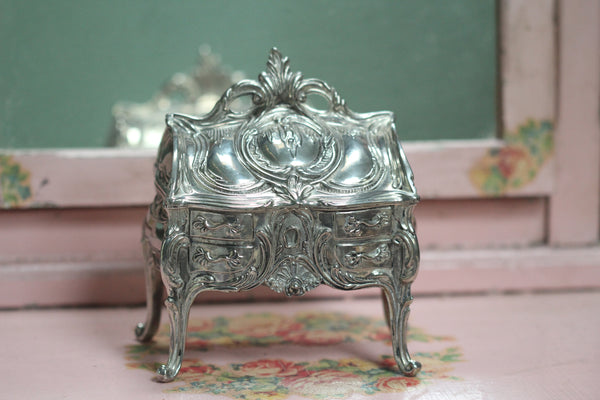 Silver Art Nouveau Jewelry Box