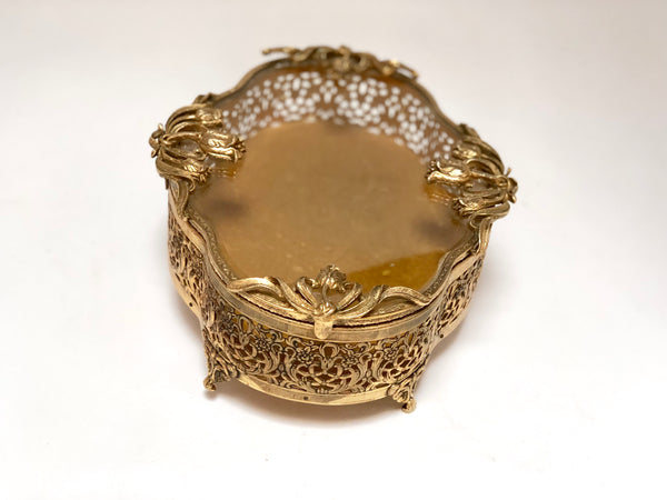 Vintage Floral French Victorian Filigree Jewelry Box