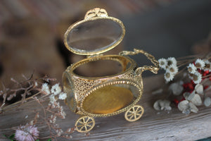 Antique Carriage Glass Filigree Jewelry Box