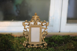 Antique Small Cast Iron Victorian Bronze Frame