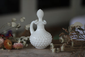 Antique White Glass Hobnail Decanter
