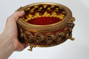 Antique Red Velvet Claw Feet Jewelry Box