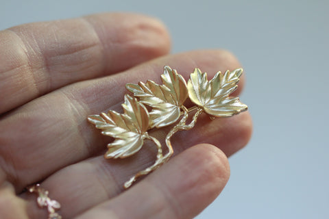 Triple Leaves Brooch