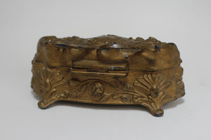 Vintage Art Nouveau Jewelry Bronze Floral Box