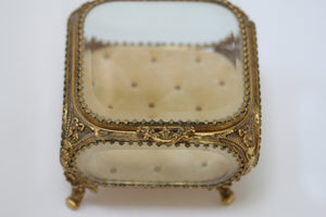 Antique Square Glass Filigree Jewelry Box