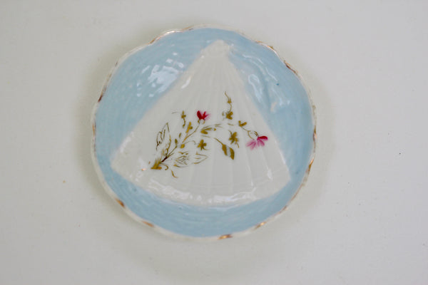 Antique Light Blue Floral Porcelain Ring Dish