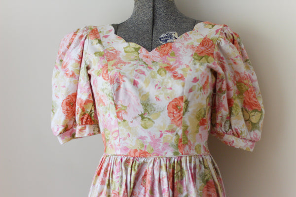 Vintage Floral Orange Laura Ashley Dress