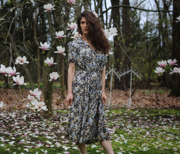 Vintage Floral Navy Laura Ashley Dress