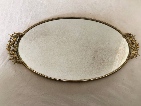 Antique Lily of the Valley Mirror Tray