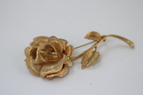 Large Rose with Stems Brooch