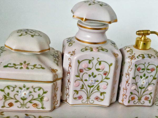Hand Painted Pink Floral Porcelain Set