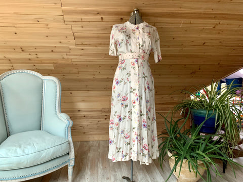 Vintage Pink Talbots Floral Dress