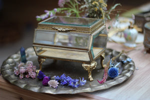 Large antique Beveled glass Jewelry Box