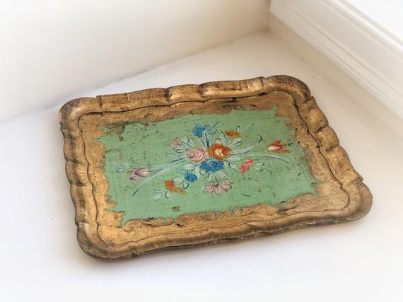 Antique Florentine Wood Floral Tray