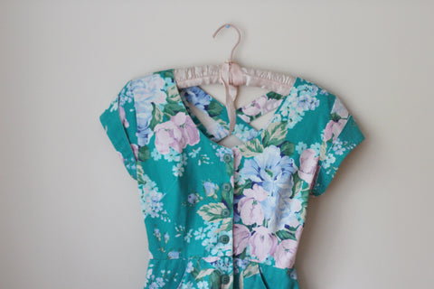Vintage Floral Green Carol Anderson Dress