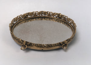Antique Small Angels Vanity Mirror Tray