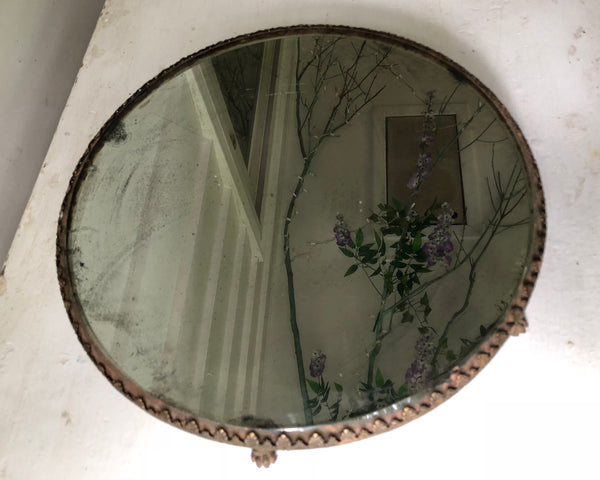 Antique Rounded Lion Feet Mirror Tray