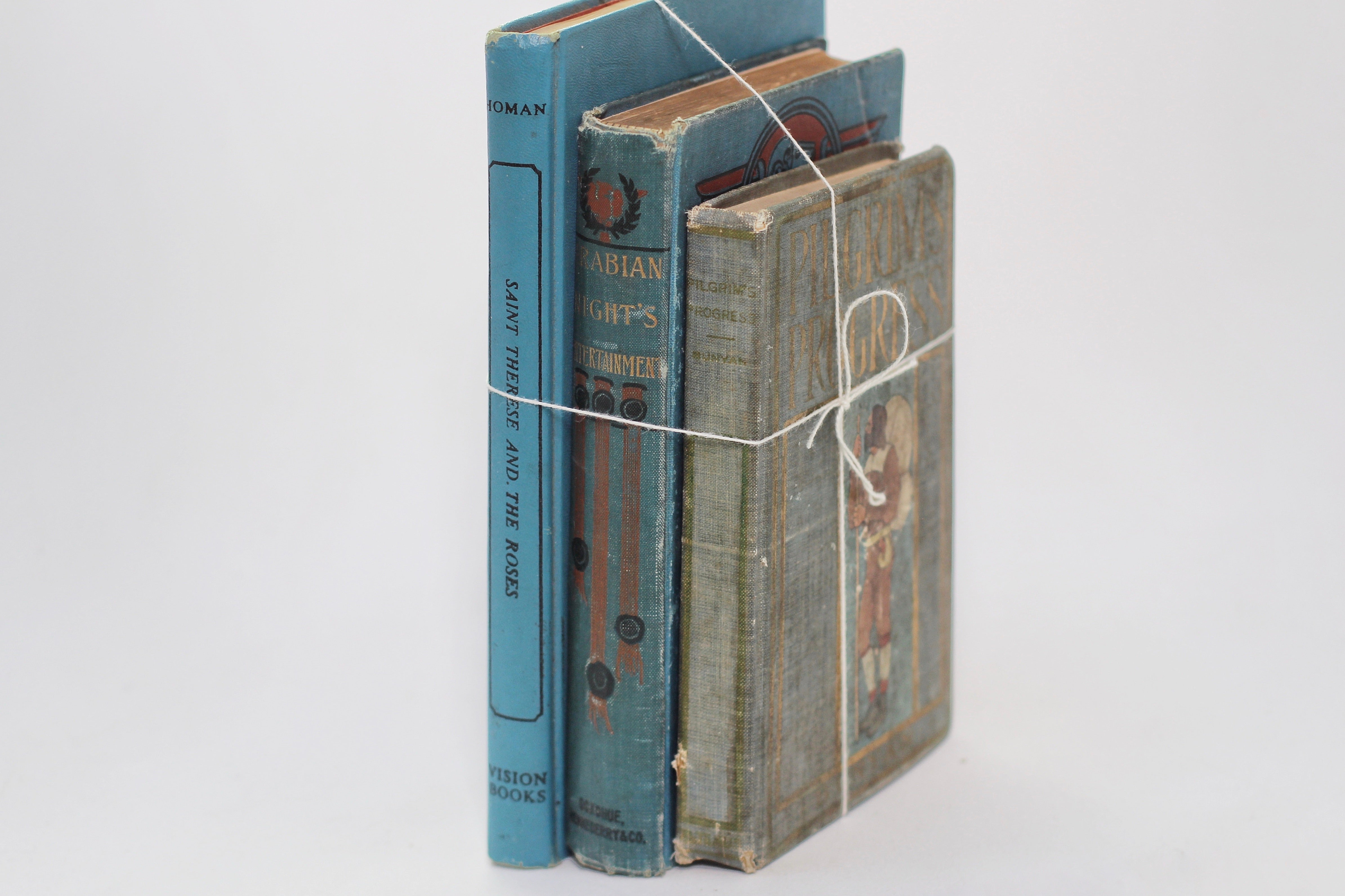 Three Antique Books Hardback Blue / Green Colors