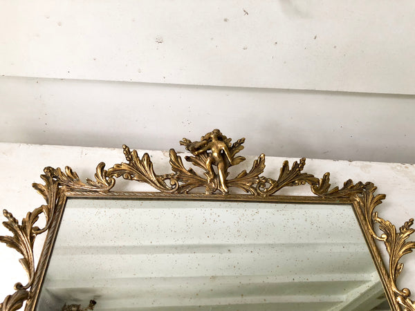 Antique Large Angels Vanity Mirror Tray