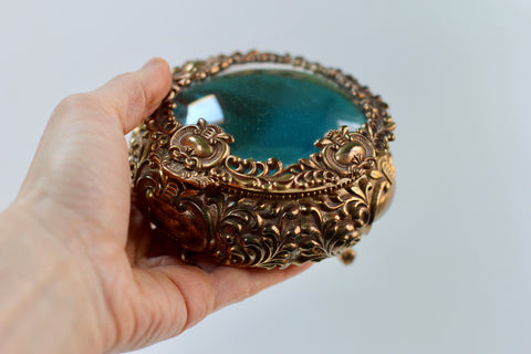 Antique Teal Jewelry Box
