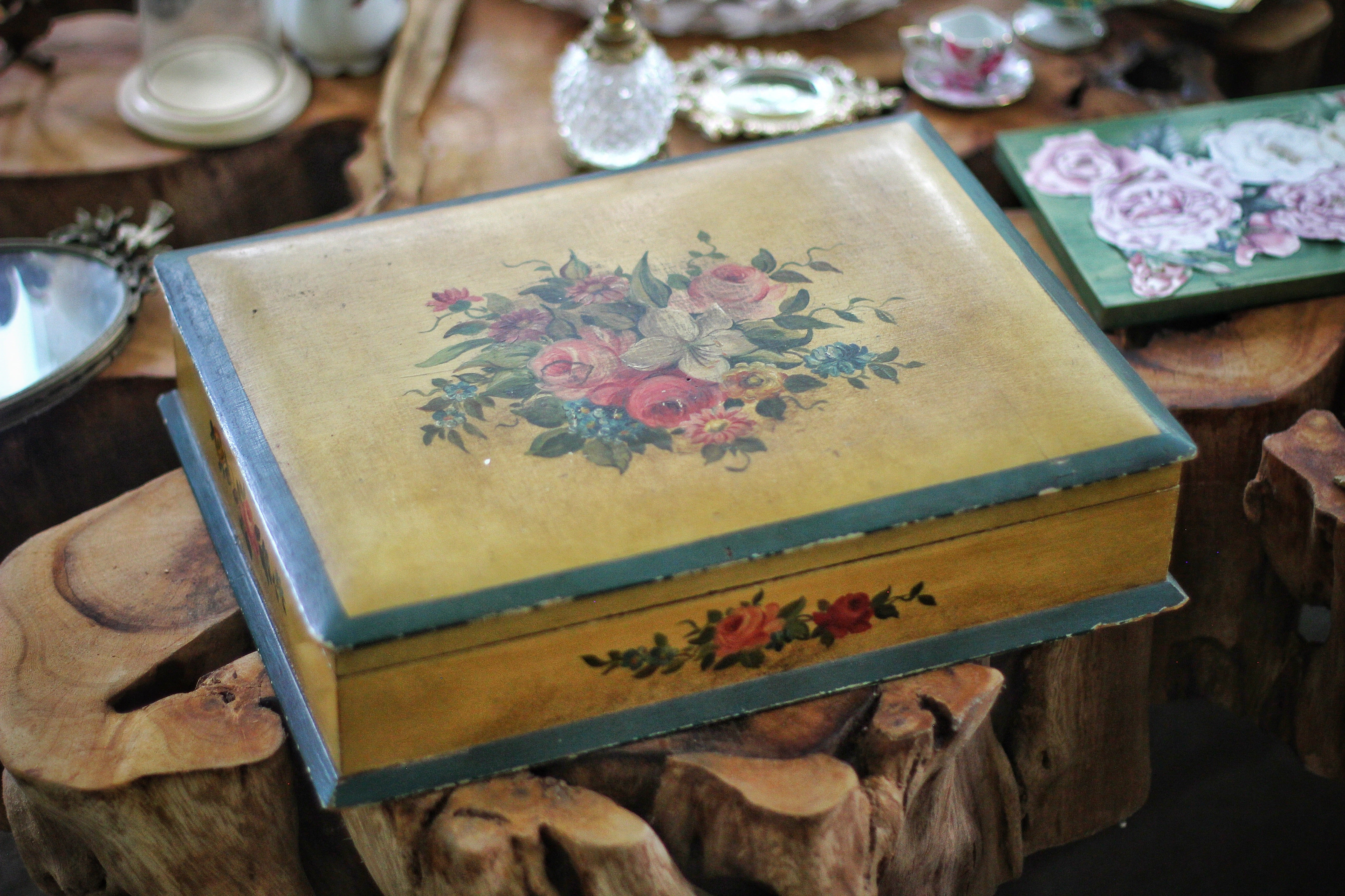 Antique Floral Wood Jewelry Box