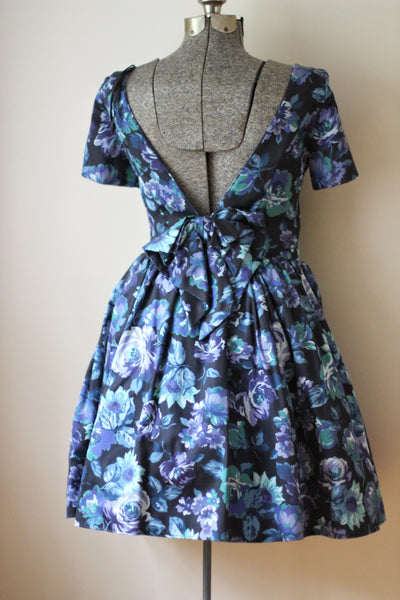 Blue Floral Tulle Laura Ashley Cocktail Dress