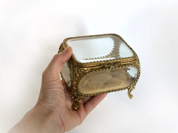 Antique Tuft Ormolu Filigree Jewelry Box