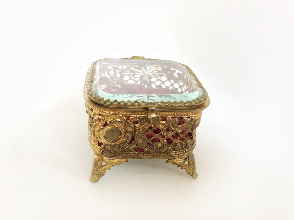 Tiny Red Tufted Vintage Jewelry Box