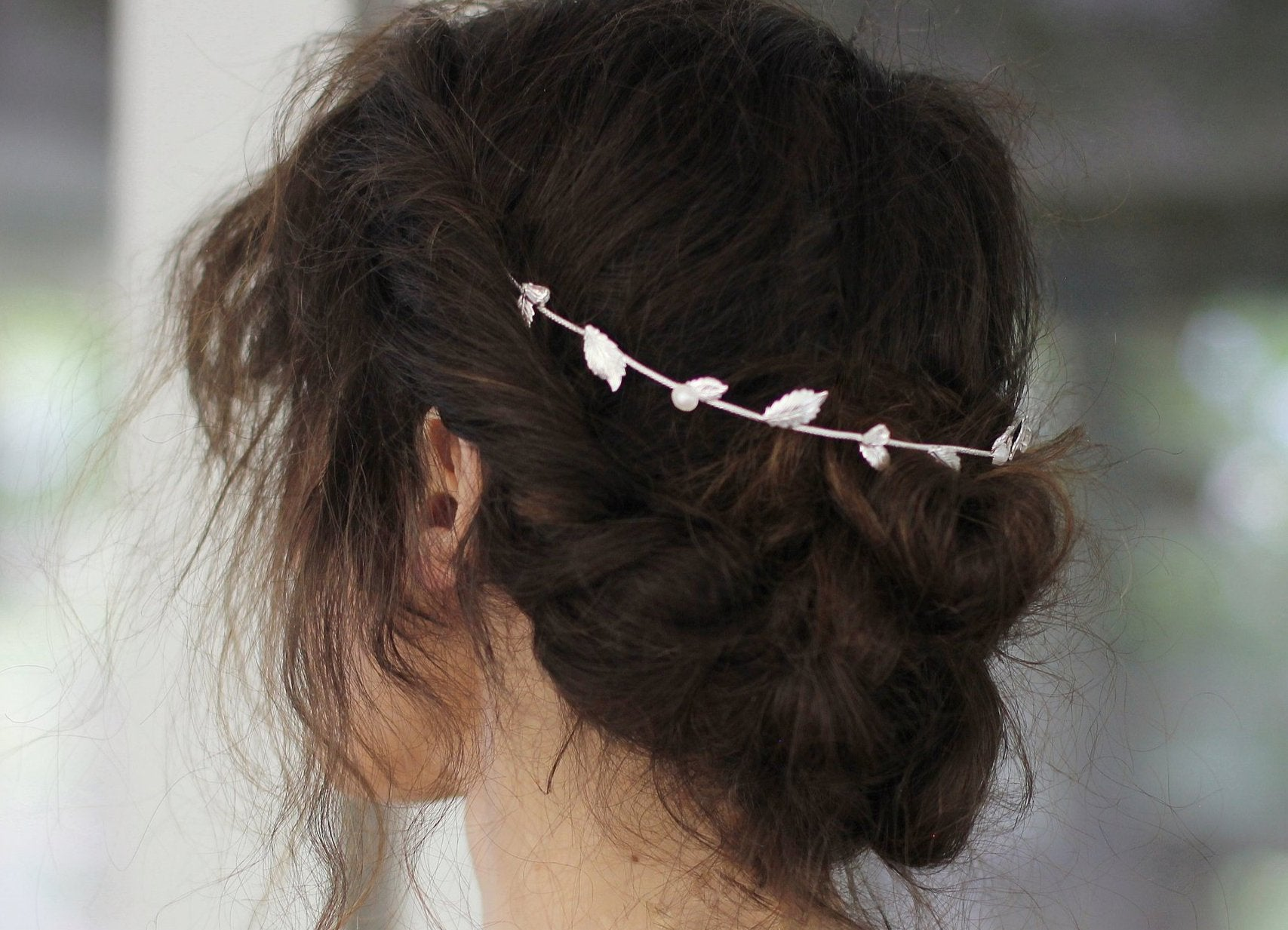Clear Crystals & Pearls Flexible Wire Headband
