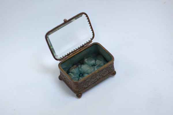 Antique Small blue tuft Jewelry Box