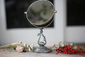 Vintage Silver Bird Vanity Pedestal Mirror on Base 2 Sided Magnifier
