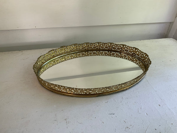 Antique Oval Filigree Lace Mirror Tray