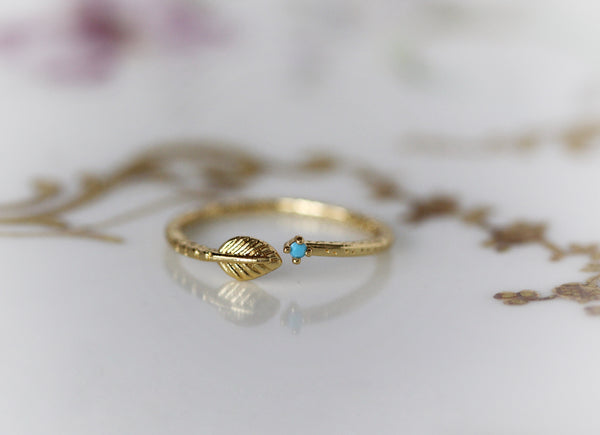 Asteria Turquoise Leaf Ring