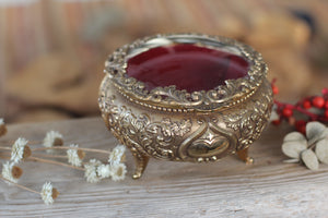 Antique Rounded Bronze Glass Jewelry Box