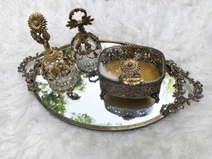 Antique Floral Hibiscus Mirror Tray