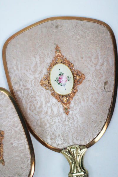 Antique Pink Floral Vanity Set
