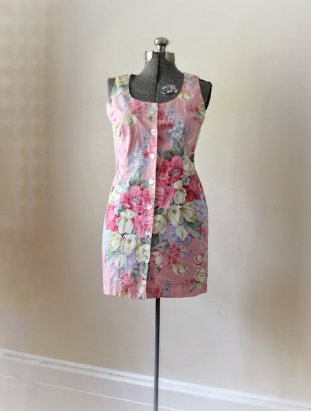 Vintage Floral Pink Mini Carol Anderson Dress