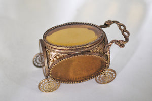 Antique Carriage Amber Glass Filigree Jewelry Box