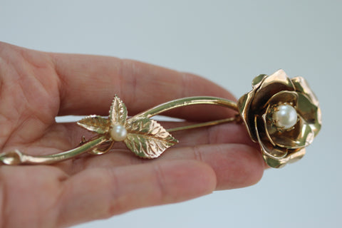 Large Rose with Stems and Pearl Brooch