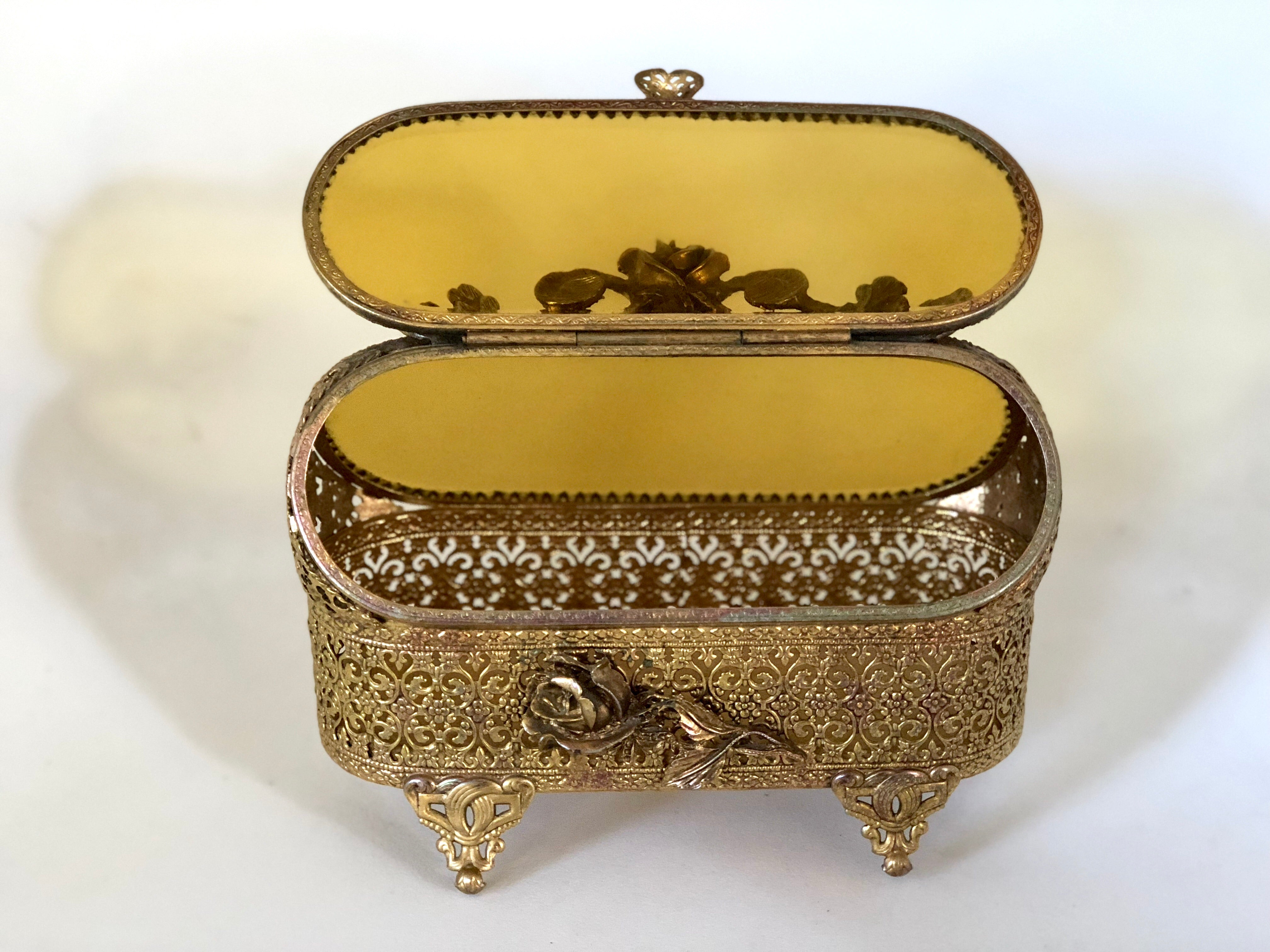 Antique Rare Amber Glass Jewelry Box