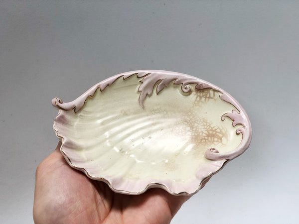 Antique Hampshire Pottery Seashell Porcelain Dish / Tiny Tray