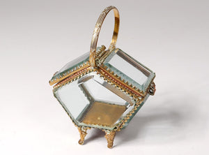 Antique Basket Beveled Glass Rare Jewelry Box